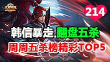 王者荣耀周周五杀榜TOP5第214期:韩信暴走翻盘五杀秀