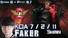 SKT T1 Faker 8.7 乌鸦排位比赛