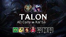 Talon AD男刀中单8.10版本精彩排位比赛