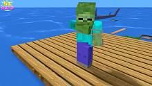 我的世界怪物学校 怪物们的木筏挑战